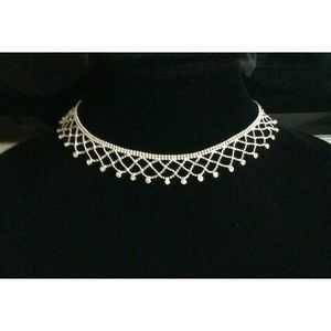 Givenchy Silver Beaded Crystal Collar Necklace